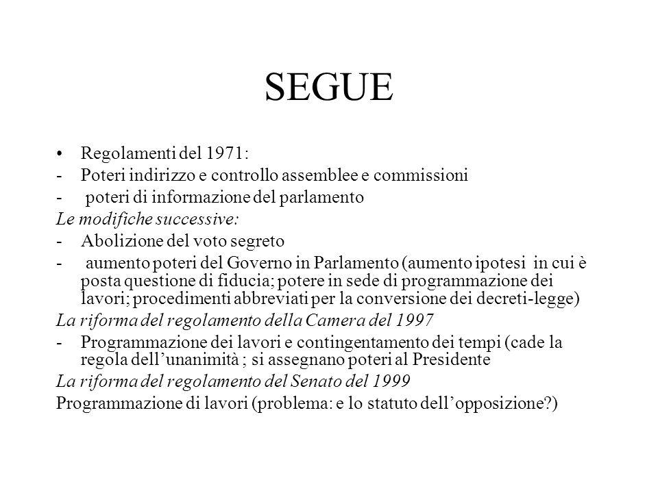 SEGUE Regolamenti del 1971: