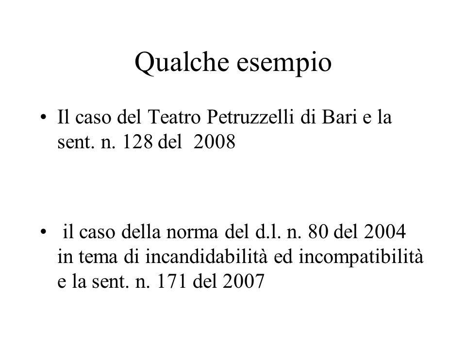 Qualche esempio Il caso del Teatro Petruzzelli di Bari e la sent. n. 128 del 2008.