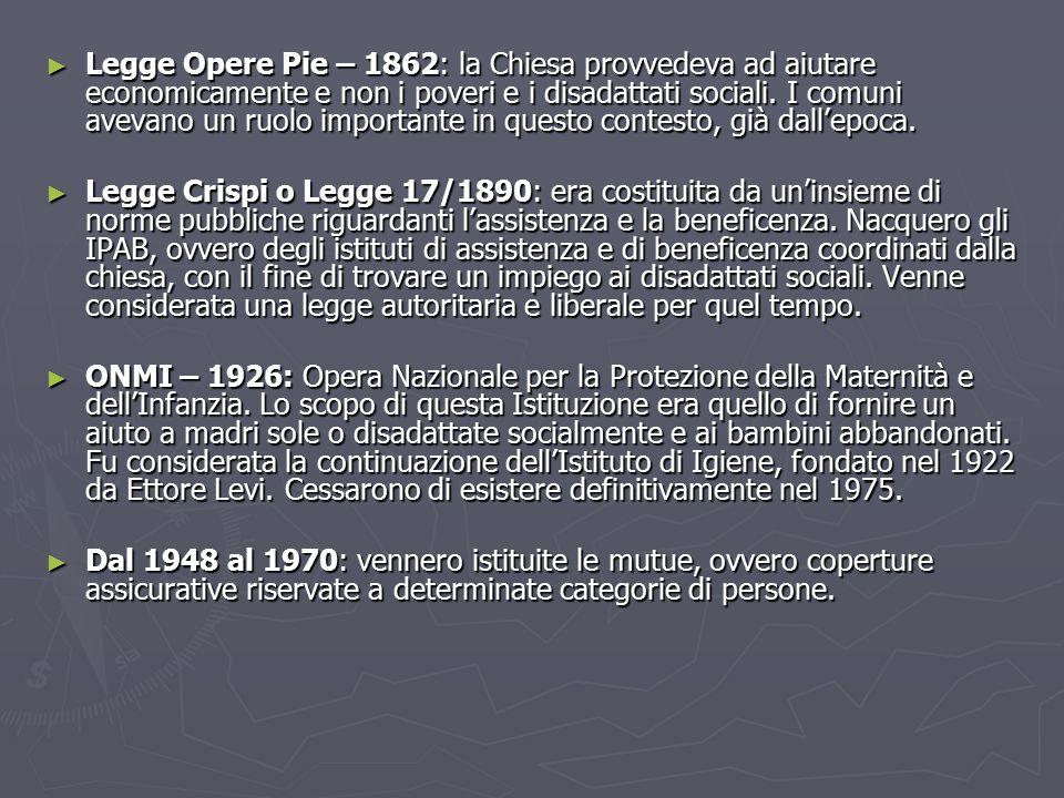 Legge Opere Pie – 1862: la Chiesa provvedeva ad aiutare economicamente e non i poveri e i disadattati sociali. I comuni avevano un ruolo importante in questo contesto, già dall'epoca.