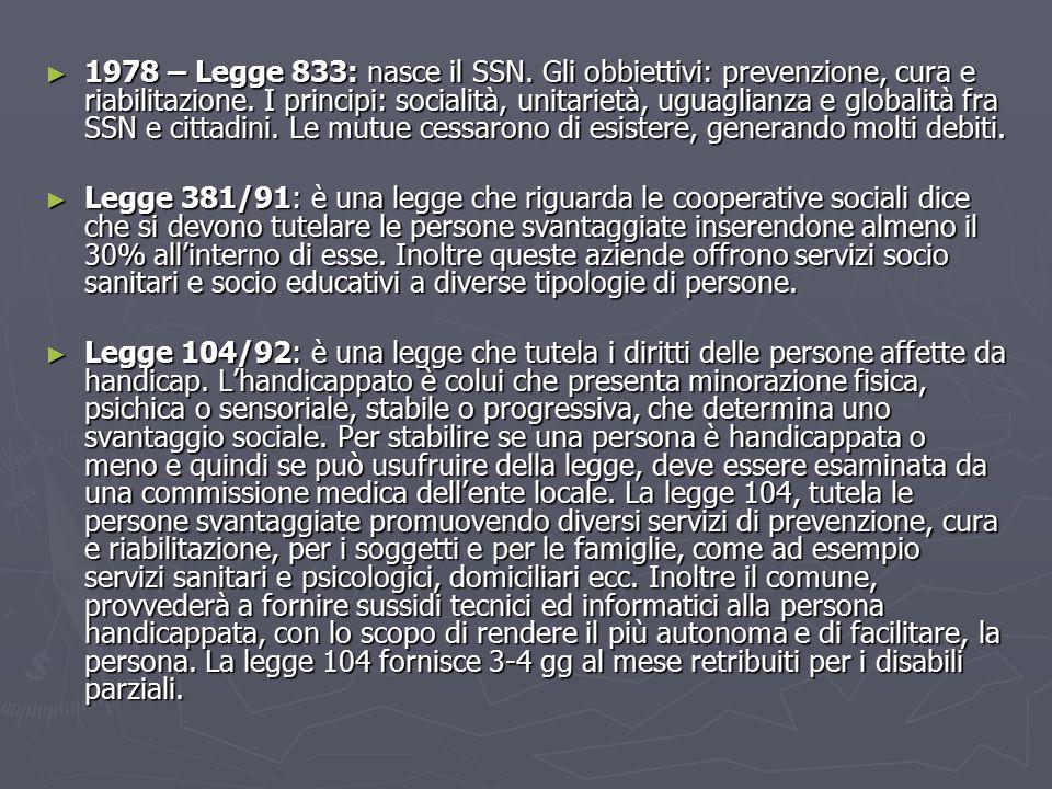 1978 – Legge 833: nasce il SSN. Gli obbiettivi: prevenzione, cura e riabilitazione. I principi: socialità, unitarietà, uguaglianza e globalità fra SSN e cittadini. Le mutue cessarono di esistere, generando molti debiti.