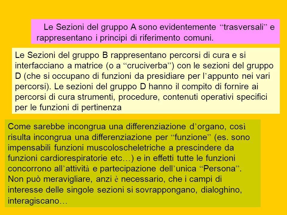 Le Sezioni del gruppo A sono evidentemente trasversali e rappresentano i principi di riferimento comuni.