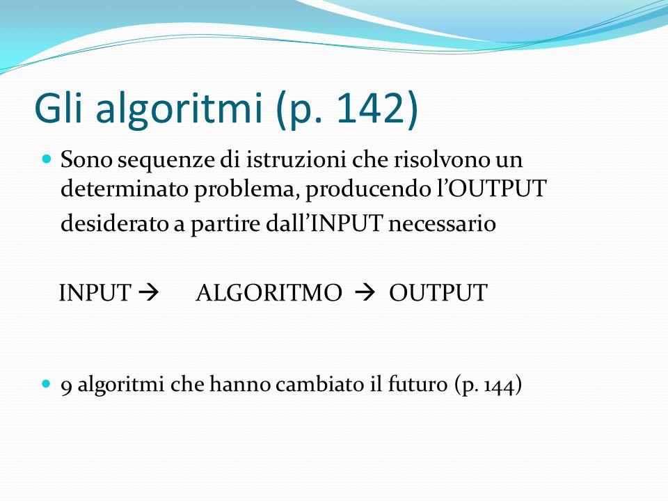 Gli algoritmi (p. 142) Sono sequenze di istruzioni che risolvono un determinato problema, producendo l'OUTPUT.