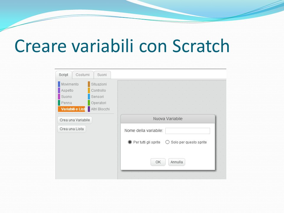 Creare variabili con Scratch