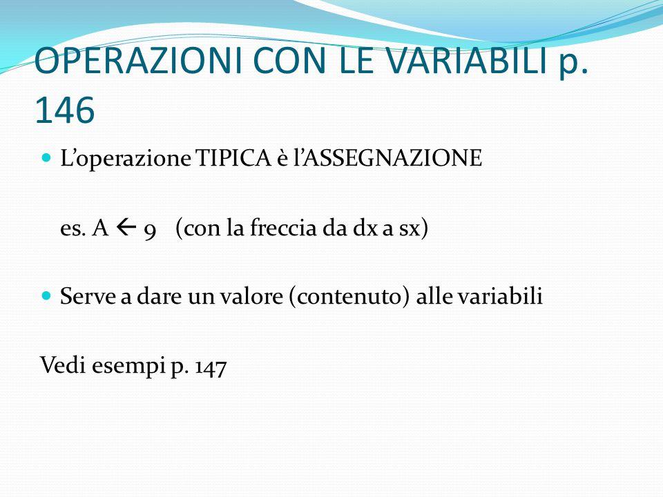 OPERAZIONI CON LE VARIABILI p. 146