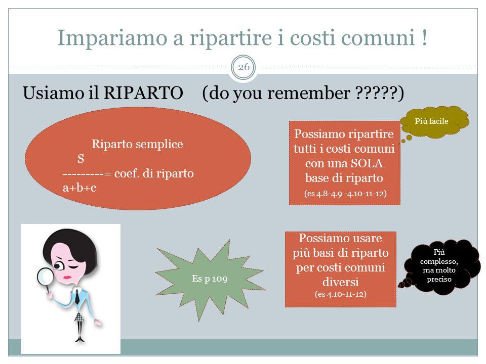 Impariamo a ripartire i costi comuni !