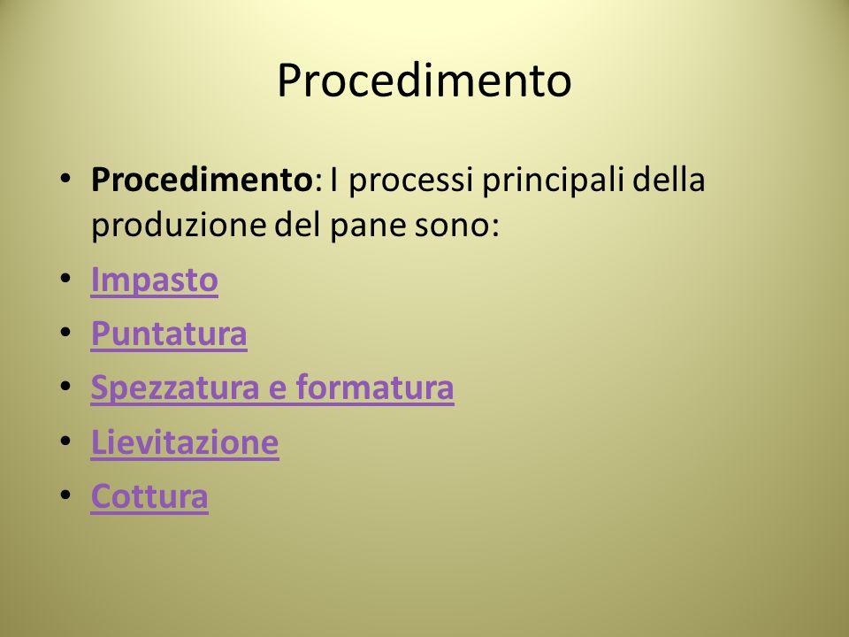 Procedimento Procedimento: I processi principali della produzione del pane sono: Impasto. Puntatura.