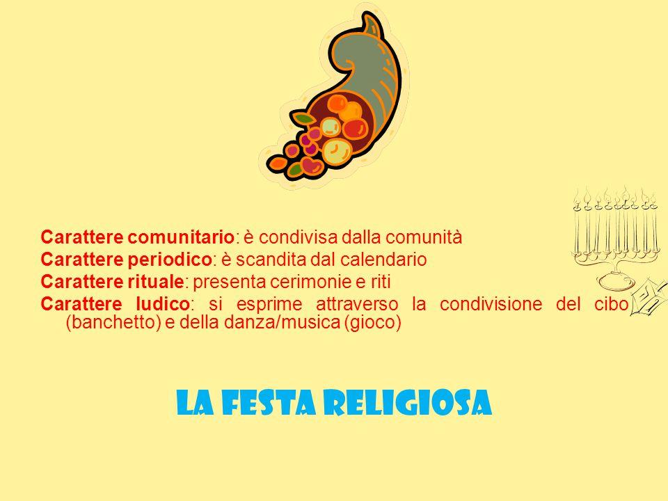la festa religiosa Carattere comunitario: è condivisa dalla comunità