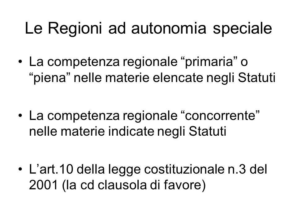 Le Regioni ad autonomia speciale