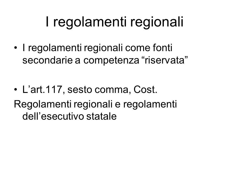 I regolamenti regionali