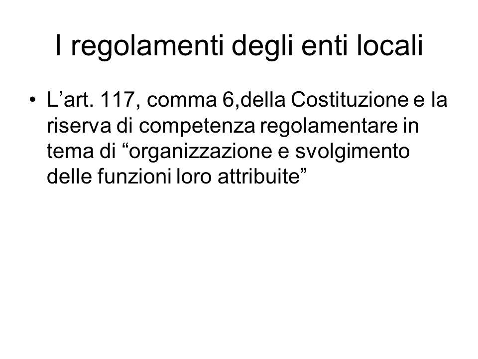 I regolamenti degli enti locali