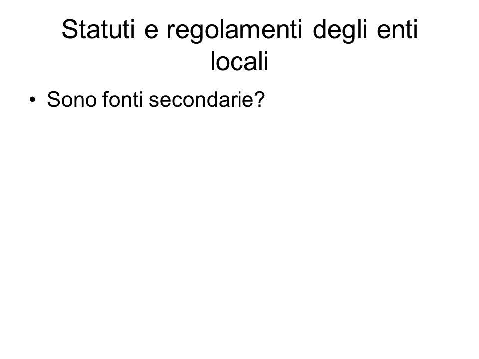 Statuti e regolamenti degli enti locali