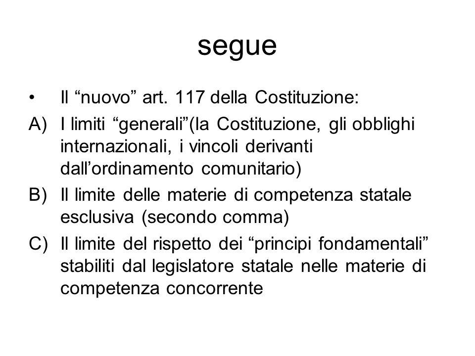 segue Il nuovo art. 117 della Costituzione:
