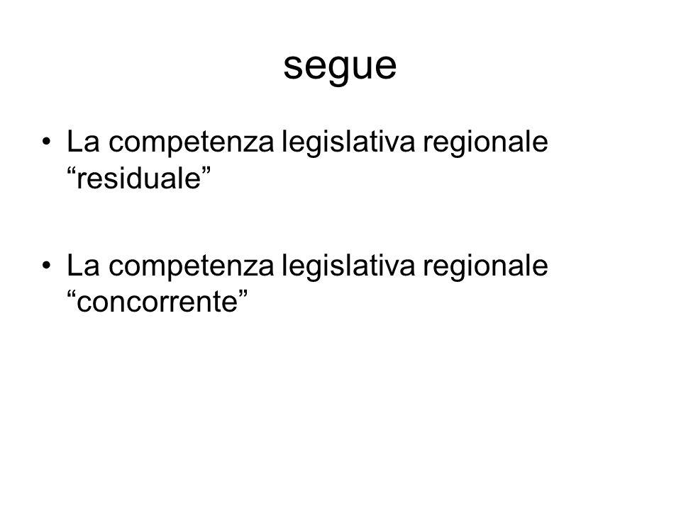 segue La competenza legislativa regionale residuale