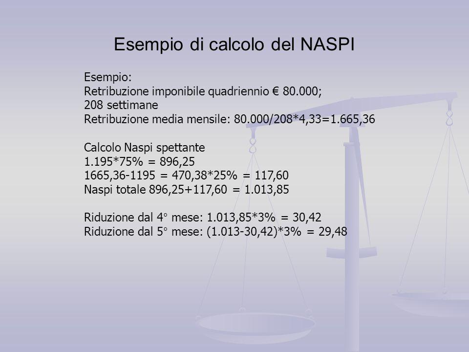 Esempio di calcolo del NASPI