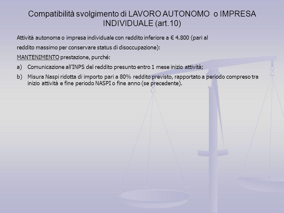 Compatibilità svolgimento di LAVORO AUTONOMO o IMPRESA INDIVIDUALE (art.10)