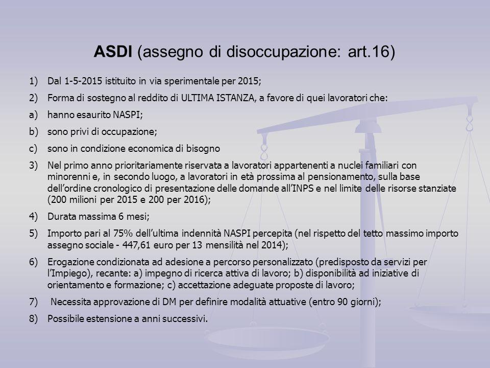ASDI (assegno di disoccupazione: art.16)