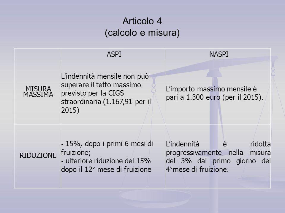 Articolo 4 (calcolo e misura)