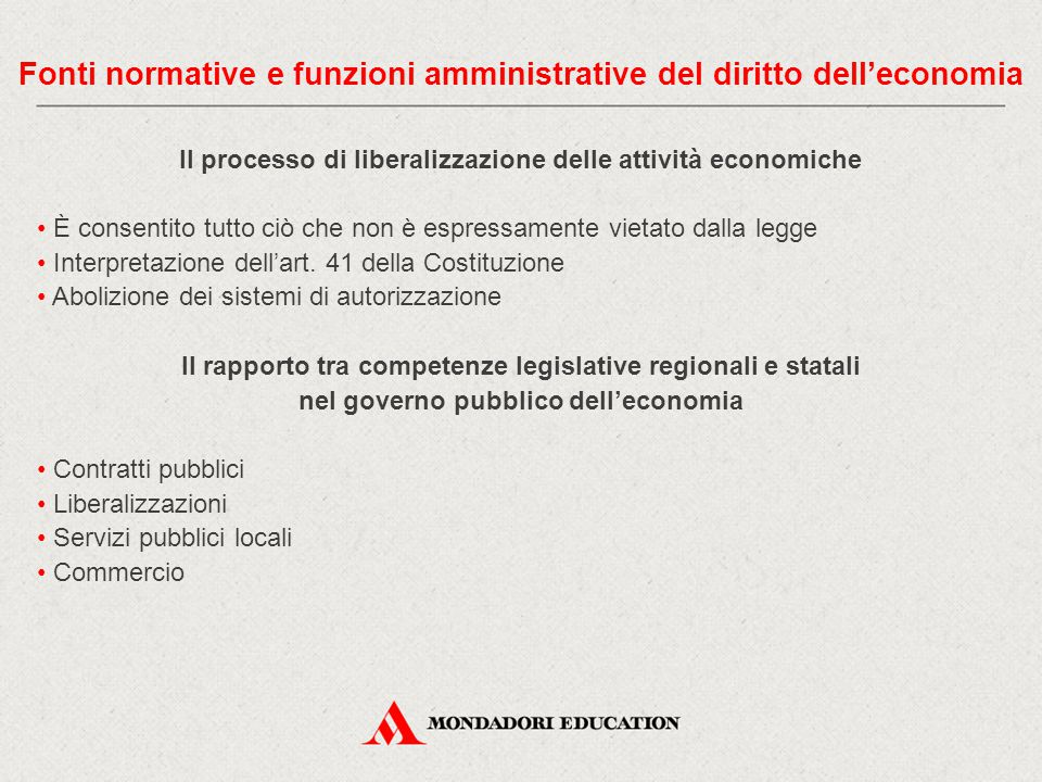 Fonti normative e funzioni amministrative del diritto dell'economia