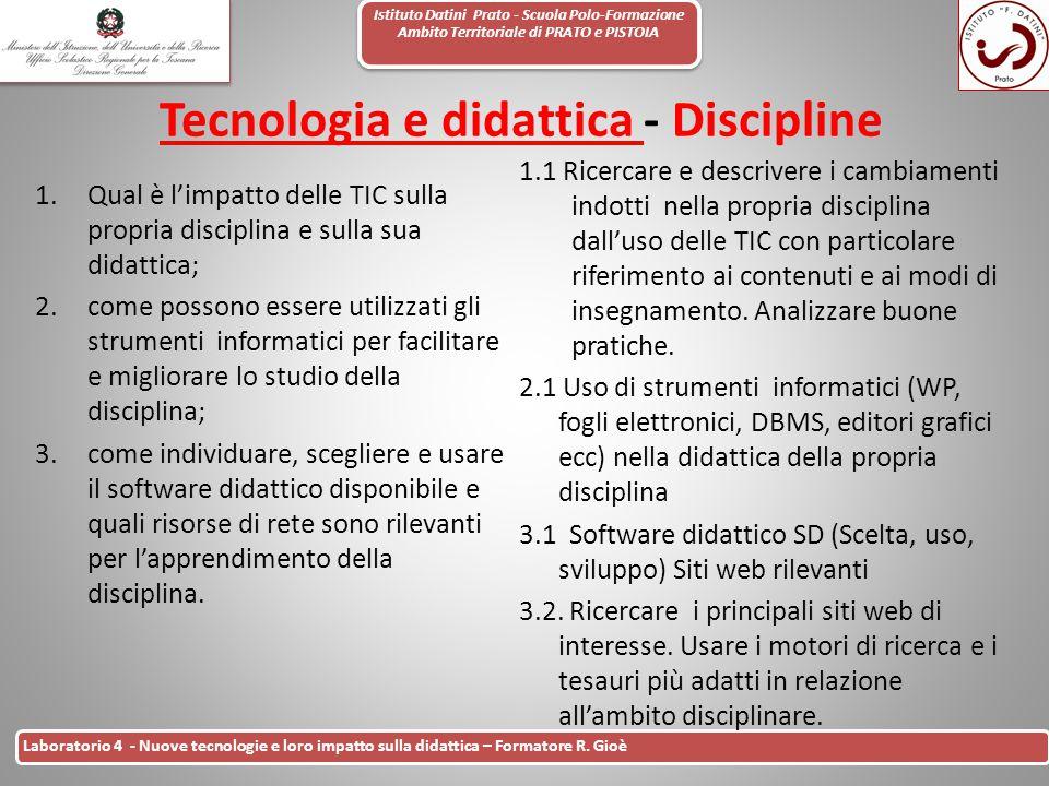 Tecnologia e didattica - Discipline