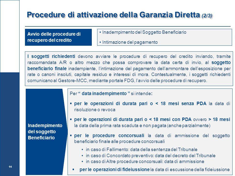 Procedure di attivazione della Garanzia Diretta (2/3)