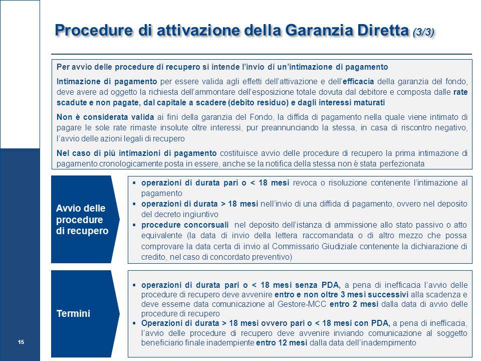 Procedure di attivazione della Garanzia Diretta (3/3)