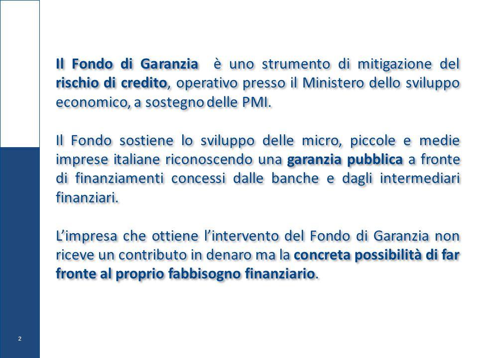 Il Fondo di Garanzia è uno strumento di mitigazione del rischio di credito, operativo presso il Ministero dello sviluppo economico, a sostegno delle PMI.