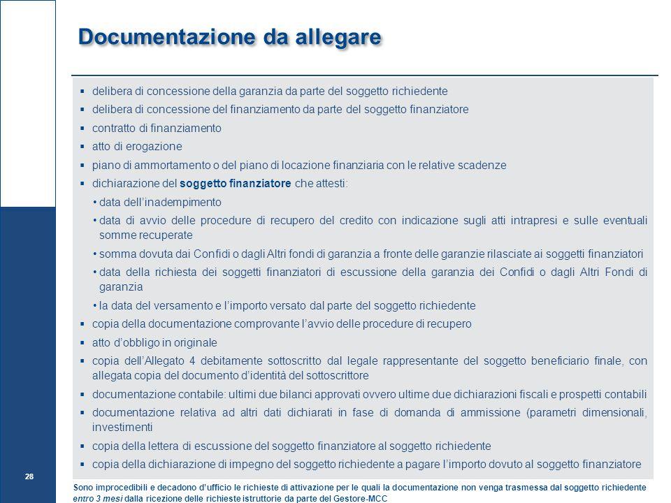 Documentazione da allegare