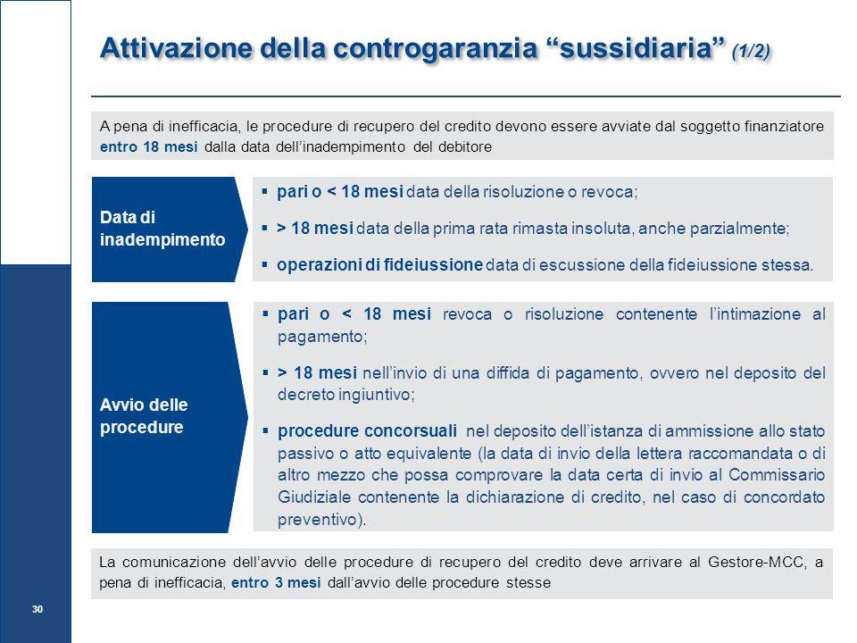 Attivazione della controgaranzia sussidiaria (1/2)