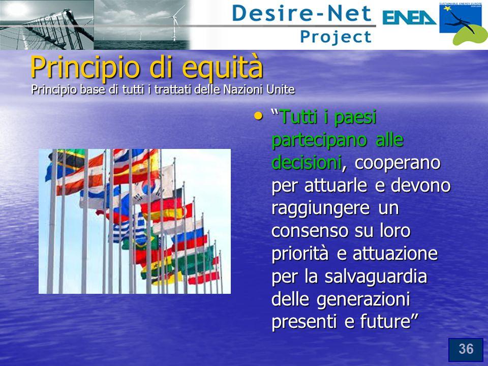 Principio di equità Principio base di tutti i trattati delle Nazioni Unite.