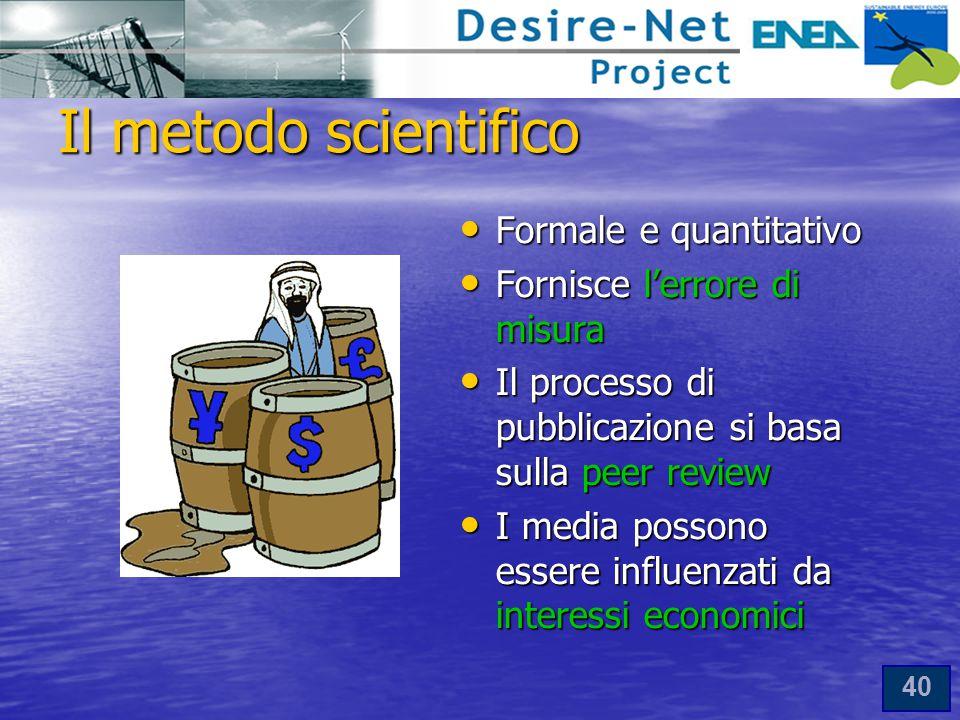 Il metodo scientifico Formale e quantitativo