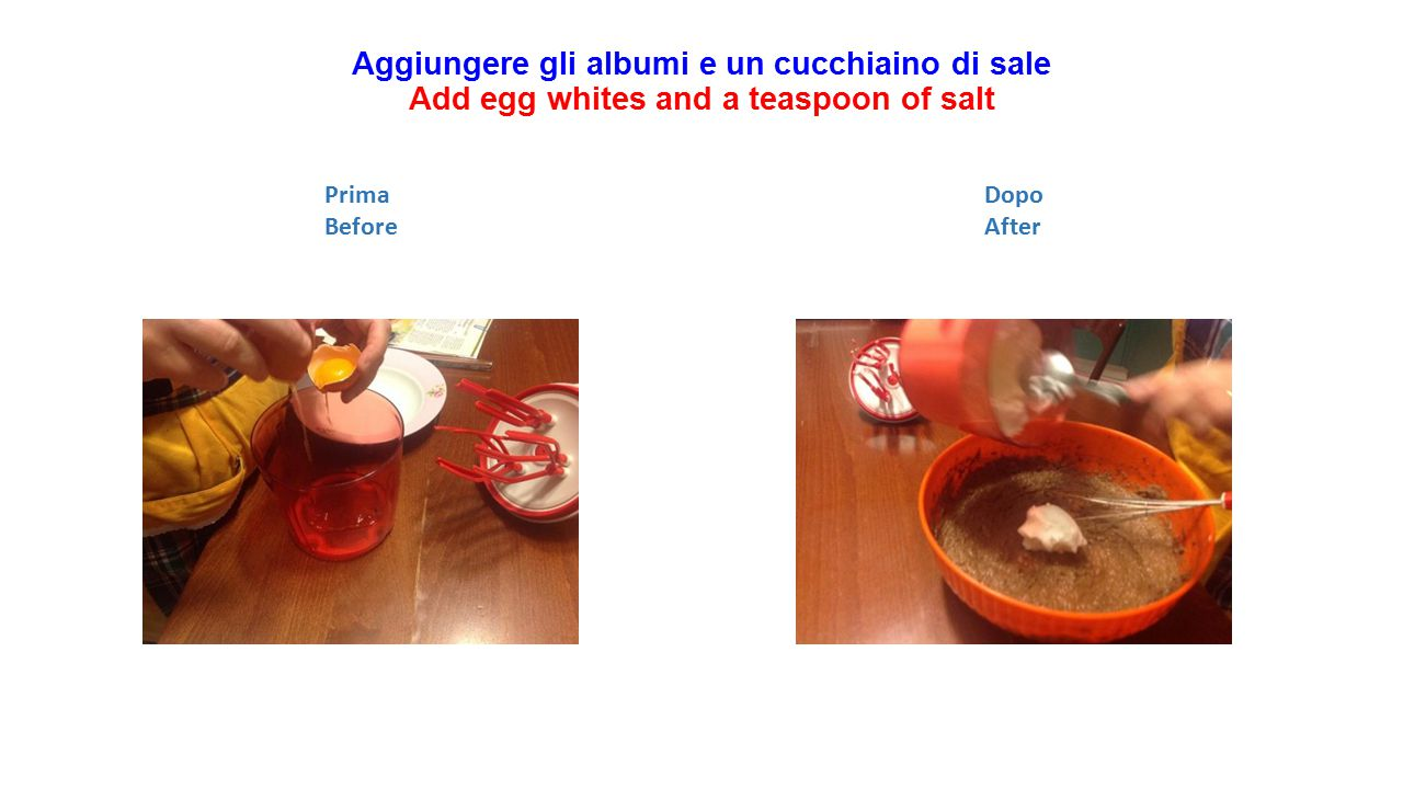 Aggiungere gli albumi e un cucchiaino di sale Add egg whites and a teaspoon of salt