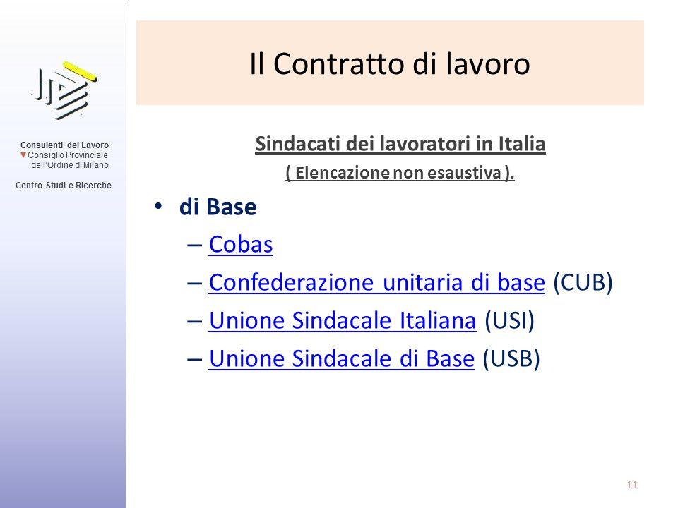 Sindacati dei lavoratori in Italia ( Elencazione non esaustiva ).