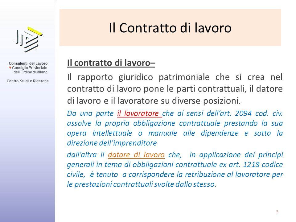 Il Contratto di lavoro Il contratto di lavoro–