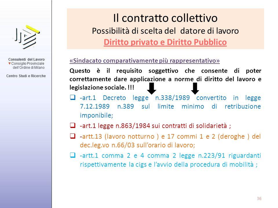 Il contratto collettivo Possibilità di scelta del datore di lavoro Diritto privato e Diritto Pubblico