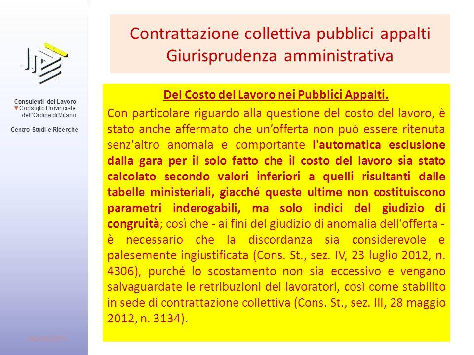Contrattazione collettiva pubblici appalti Giurisprudenza amministrativa