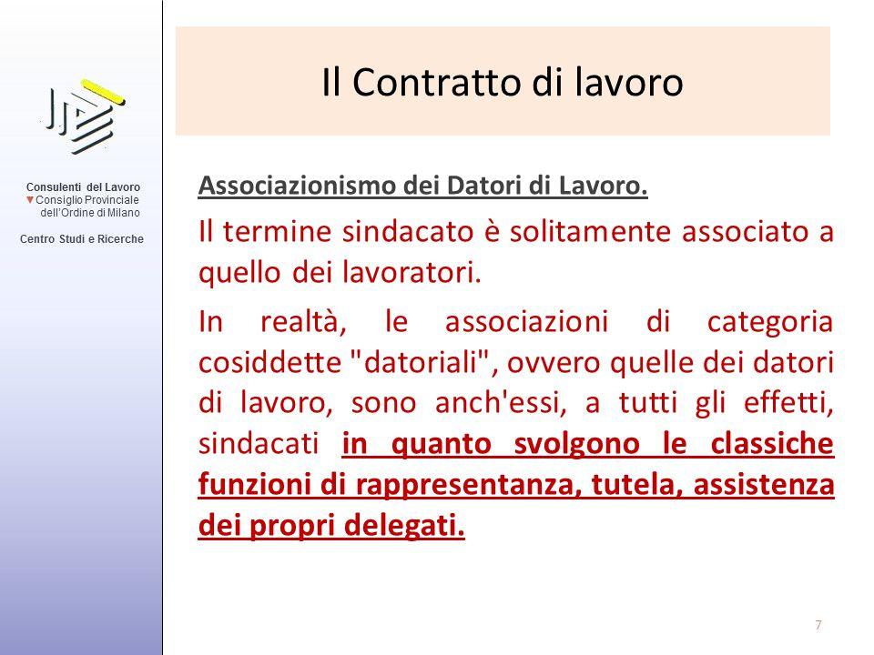 Il Contratto di lavoro Associazionismo dei Datori di Lavoro. Il termine sindacato è solitamente associato a quello dei lavoratori.