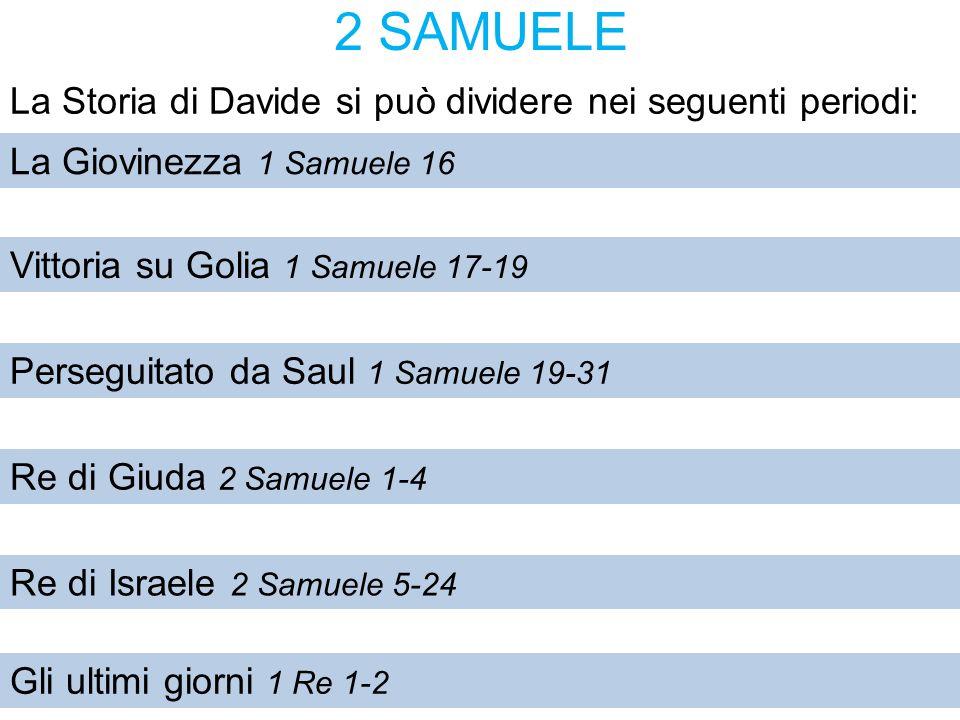2 SAMUELE La Storia di Davide si può dividere nei seguenti periodi: