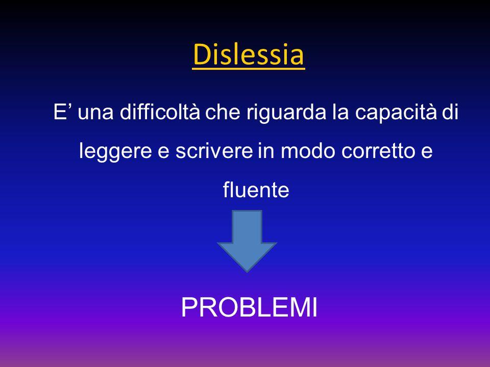 Dislessia E' una difficoltà che riguarda la capacità di leggere e scrivere in modo corretto e fluente.