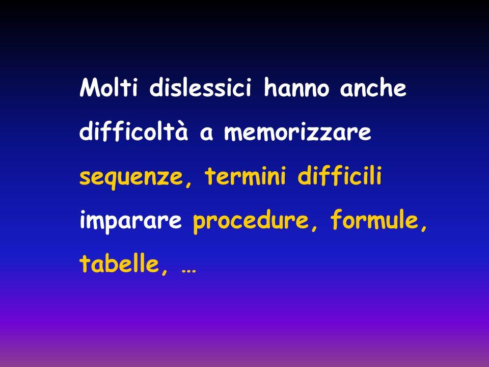 Molti dislessici hanno anche difficoltà a memorizzare sequenze, termini difficili imparare procedure, formule, tabelle, …