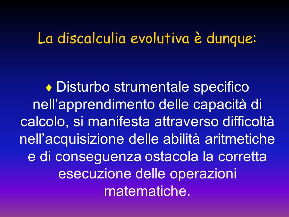La discalculia evolutiva è dunque: