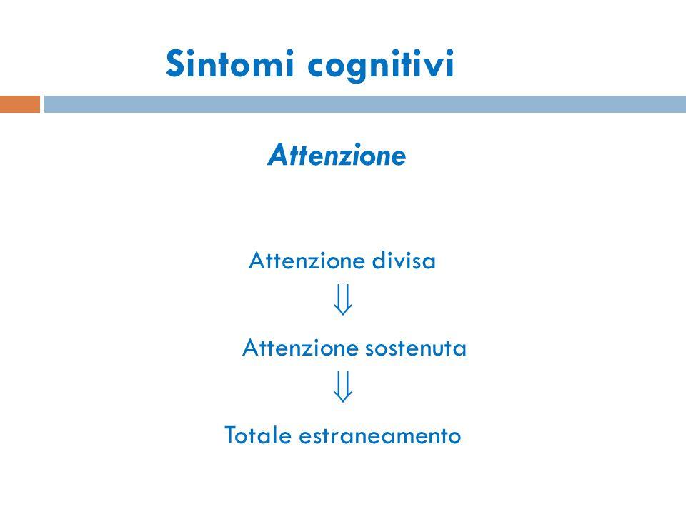 Sintomi cognitivi Attenzione  Attenzione divisa Attenzione sostenuta