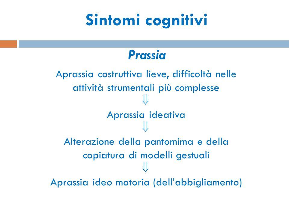 Sintomi cognitivi Prassia