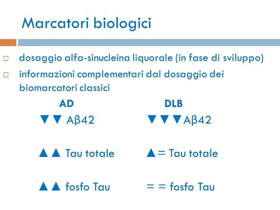 Marcatori biologici ▲▲ Tau totale ▲= Tau totale