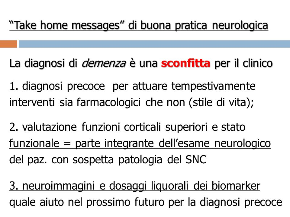 Take home messages di buona pratica neurologica