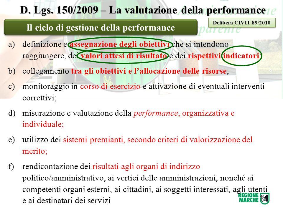 D. Lgs. 150/2009 – La valutazione della performance