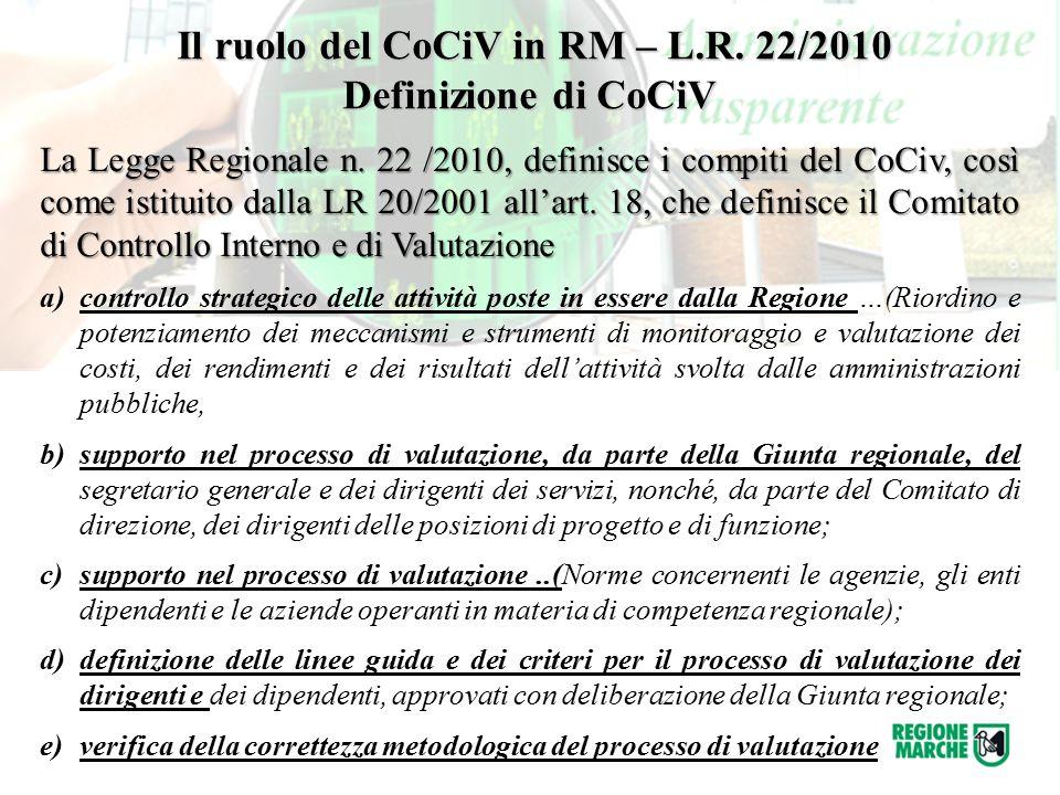 Il ruolo del CoCiV in RM – L.R. 22/2010