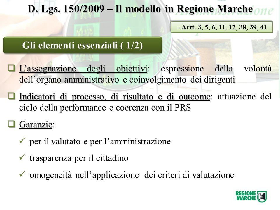 D. Lgs. 150/2009 – Il modello in Regione Marche