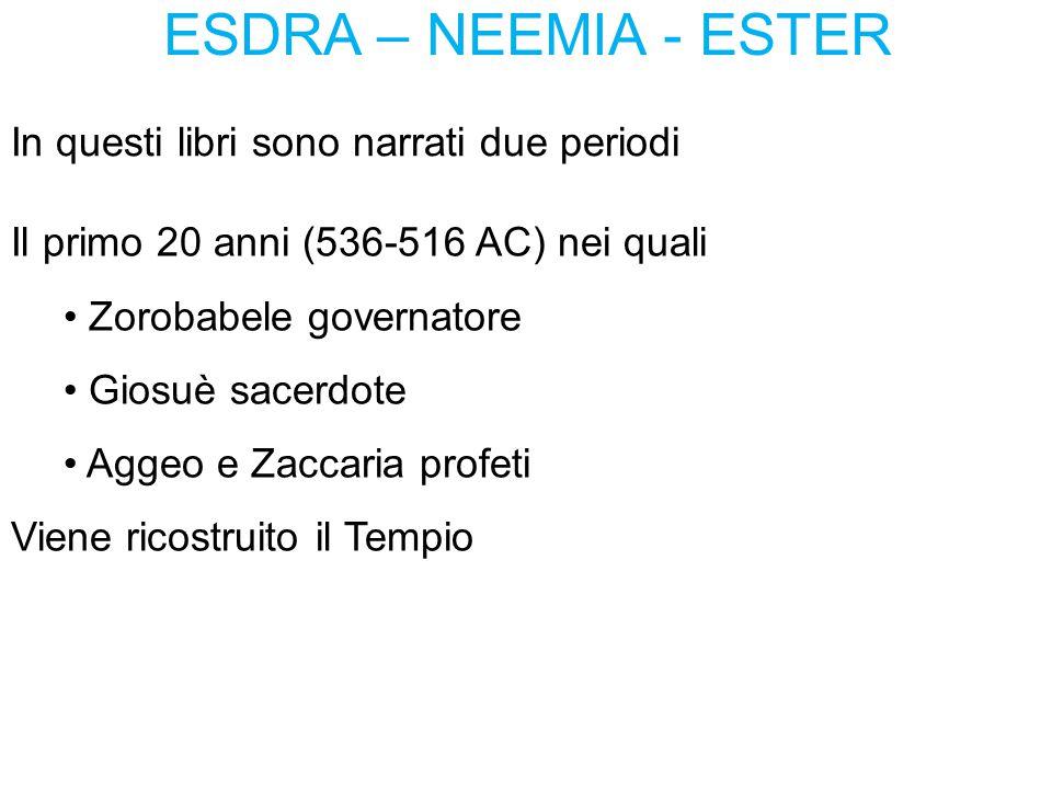 ESDRA – NEEMIA - ESTER In questi libri sono narrati due periodi