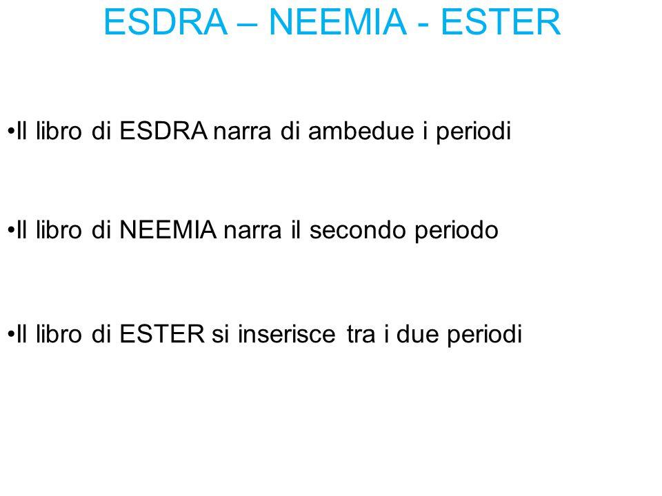 ESDRA – NEEMIA - ESTER Il libro di ESDRA narra di ambedue i periodi