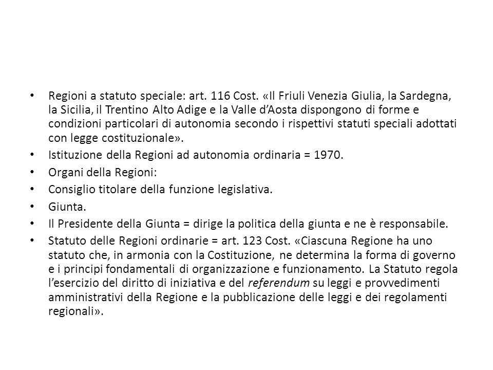 Regioni a statuto speciale: art. 116 Cost